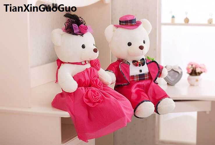 large 60cm hot pink wedding dresses teddy bears plush toy love couples bears soft doll proposal,wedding gift w2987 stuffed animal 120 cm cute love rabbit plush toy pink or purple floral love rabbit soft doll gift w2226
