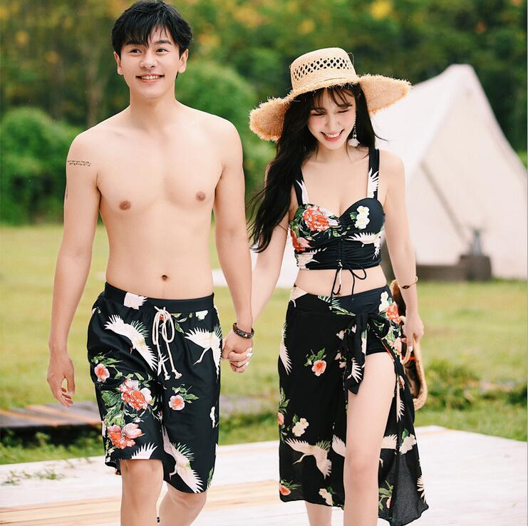 Couple Swimwear Print Women Lovers Swimsuit Bikini Set Two Pieces Summer Beachwear Bathing Suit & Man Trucks Beach Shorts