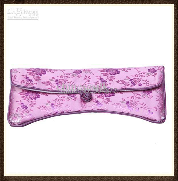 505b92412773 High Quality Large Sunglasses Pouches Pretty Women Soft Silk Brocade Glasses  Cases 10pcs lot mix color Free shipping