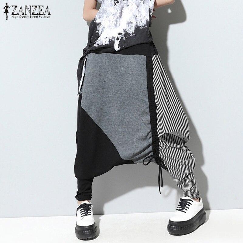 ZNAZEA Vintage Patchwork Harem   Pants   Women Casual Elastic Waist Baggy Long   Wide     Leg   Trousers 2019 Fashion Drop-Crotch Pantalon