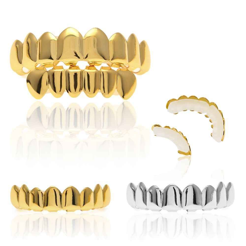 High Quality Hot Custom Comfort Grillz Tooth Cap Hip Hop Small Plated Gold  Teeth Cap Top & Bottom Grill Set Oral Hygiene