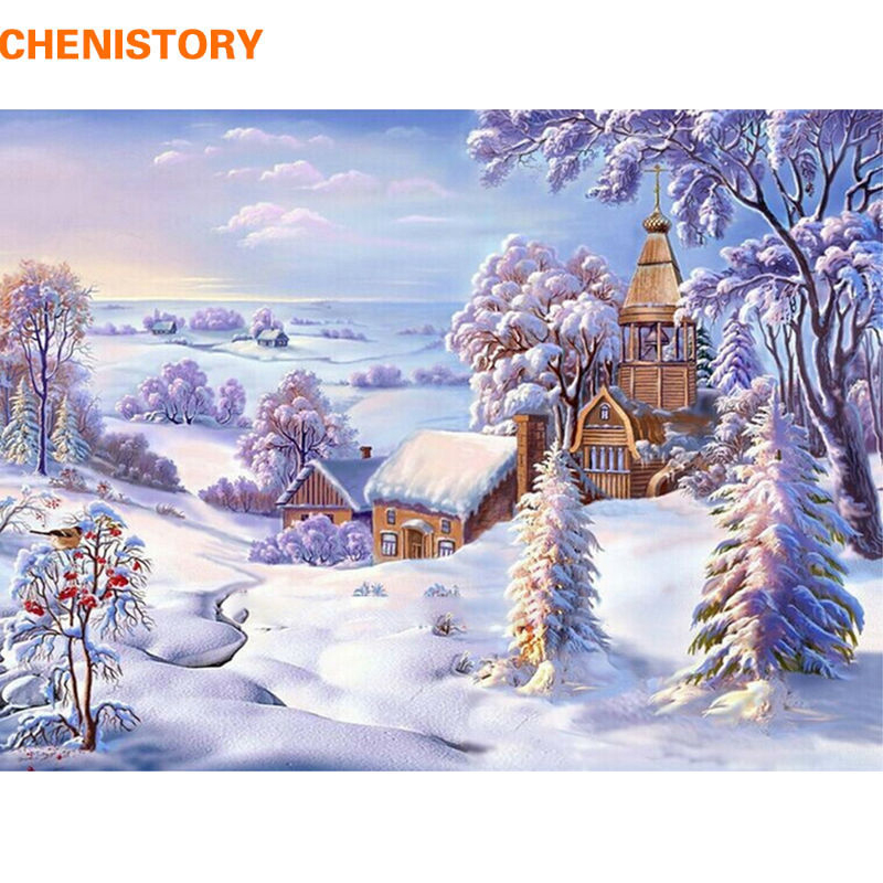 CHENISTORY Frameless Christmas Snow World DIY Painting By Numbers Landscape Acrylic Paint Modern Wall Art Picture For Home Decor in Painting Calligraphy from Home Garden