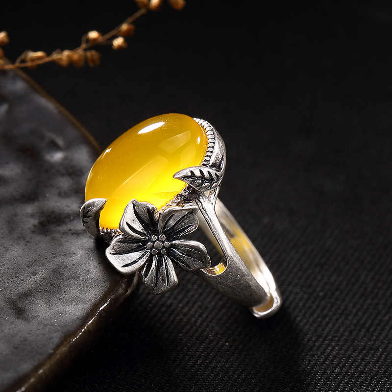 ไม่ปลอมอิสราเอล S925 Fine Antique shop แหวนเงินผู้หญิง Handmade Vintage ธรรมชาติ Artisan Baltic อัญมณีธรรมชาติ amber
