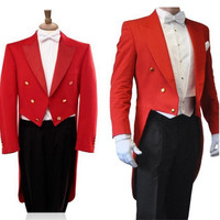 High Quality Crime Red Suit 2017 Red Jackets Black Tuxedo Pants Men Suit Custom Jacket And