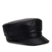 2020 new Genuine Leather sheepskin cap Fashion Cap Box Hat men brand 100% real leather student fashion caps hat