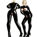Sexy Lingerie Plus Size Pvc Black Woman Latex Bodysuit Crotchless Catsuit Jumpsuit Faux Leather Gothic Punk Costumes