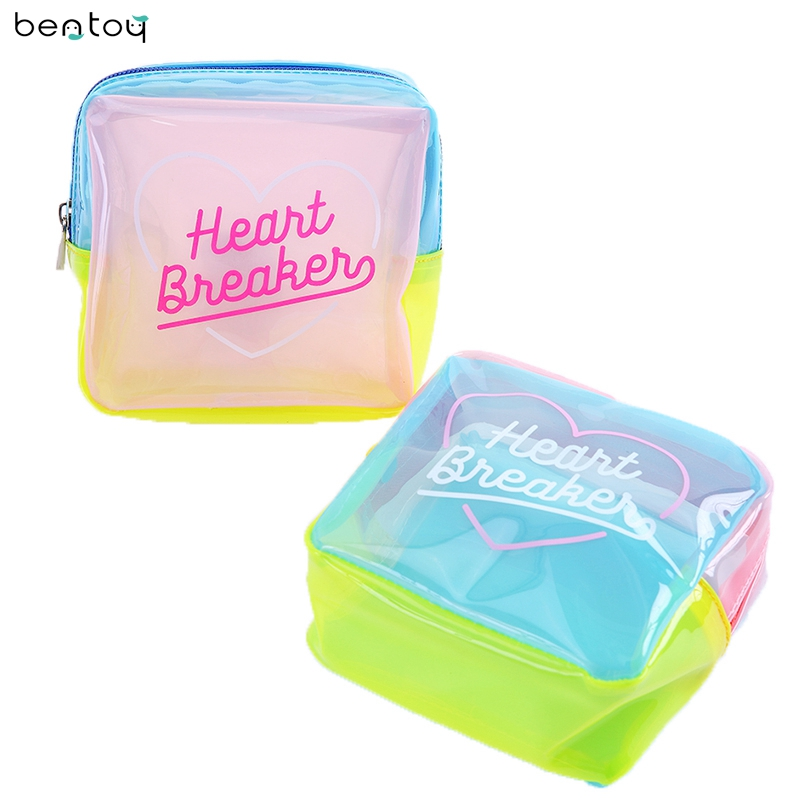 Cosmetic-Bag Makeup Pvc Pouch Travel-Wash-Case Jelly Girls Waterproof Women Summer Patchwork