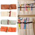 2016 Popular Canvas Bag Holder Wrap Roll Up Stationery Pen Brushes Makeup Pencil Case Pouch Storage Case