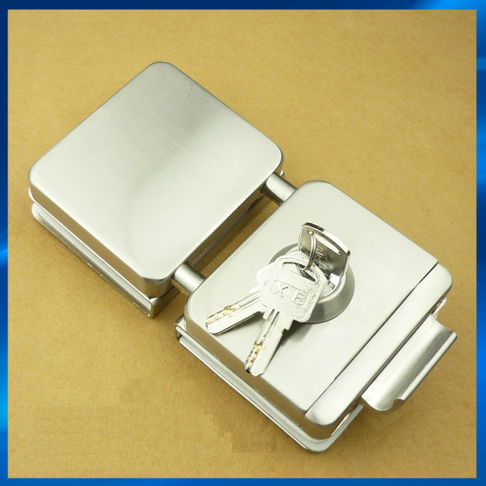 Double glass door lock with keys(one key hole and turning knob),glass clamp lock,gate lock,gate latch цены