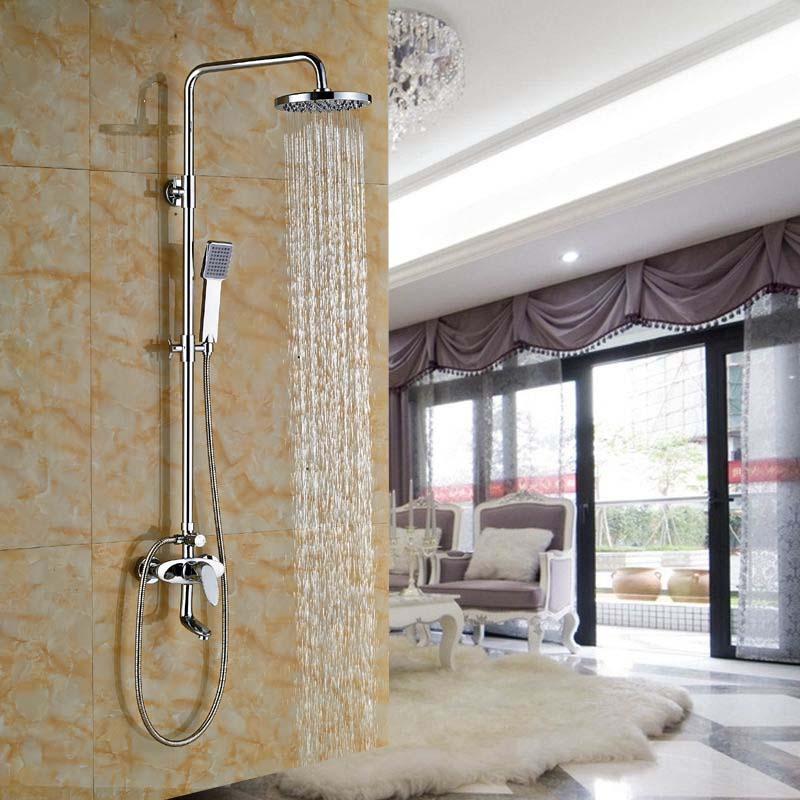 Promotion Luxury Chrome Finish 8 Rain Shower Faucet Column Set W/ Bathtub Mixer Tap poiqihy chrome rain