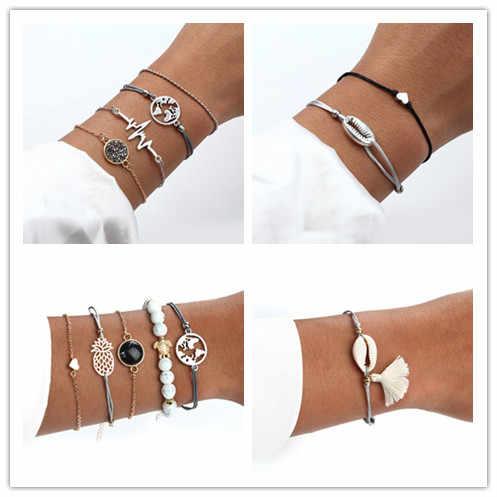 Lato Hot sprzedaż czeski bransoletka w stylu zestaw Boho urok Pulseras proste kamień naturalny bransoletka dla kobiet srebrny złoty miłość łańcuch