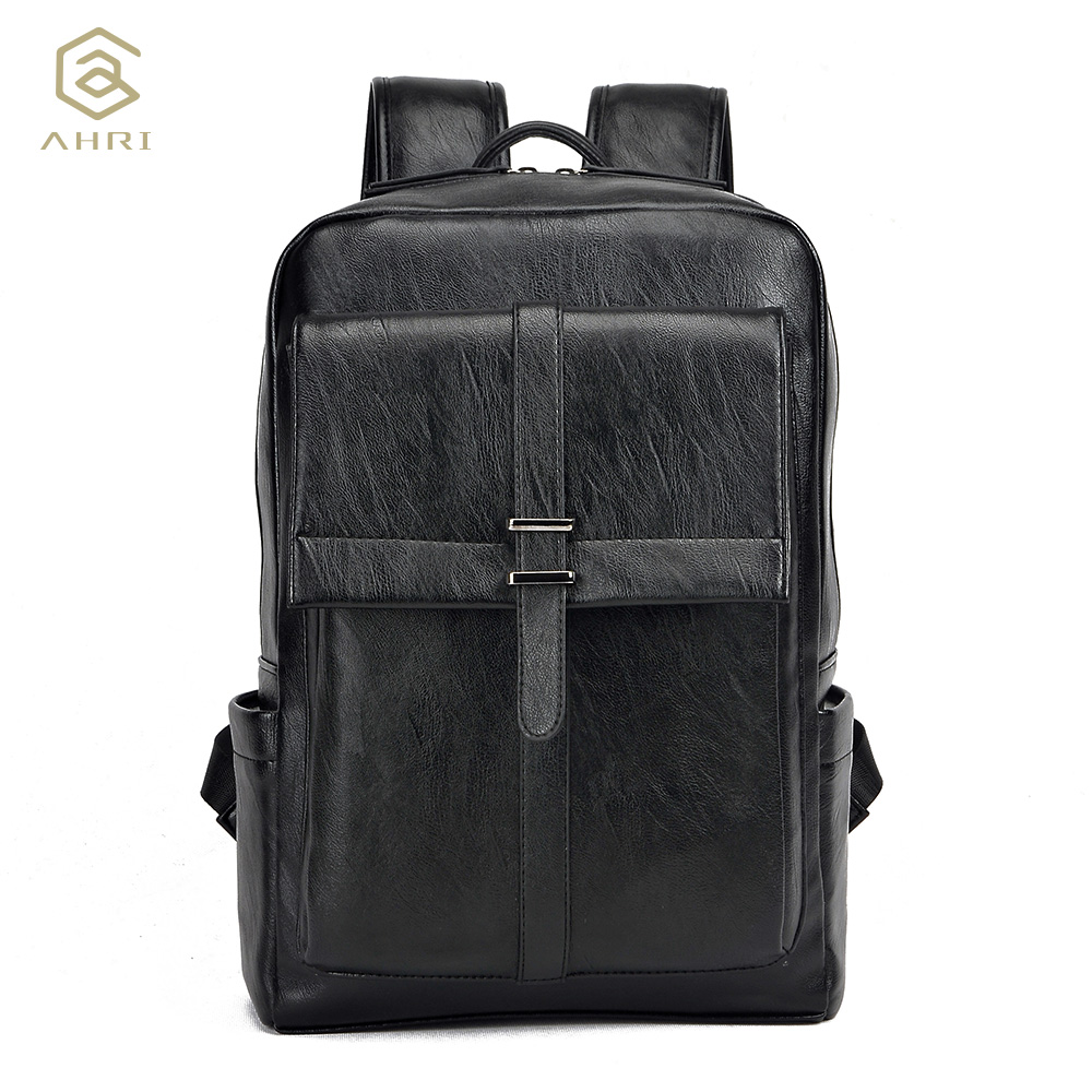 ФОТО AHRI Factory outlet Luxury Fashion Men Business Casual School Travel PU Leather Men's Shoulder Bags Vintage Backpacks for men