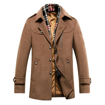 Men's Winter Thick Warm Turn-down Collar Single Breasted Casual Coat High Quality Fashion Male Clothing Size M L XL XXL XXXL