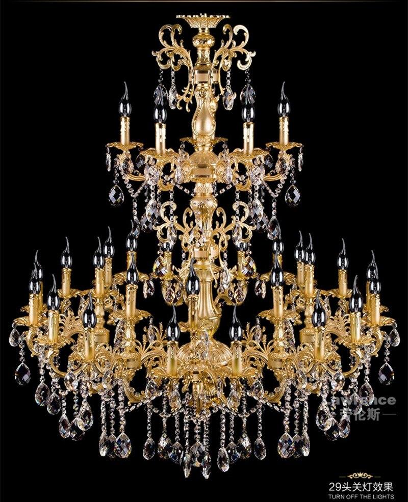 project Antique 29-head Gold led chandelier crystal droplight parlor foyer hotel large vintage candle chandelier lighting lustre