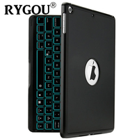 For New iPad 2017 Keyboard Case, 7 Colors LED Backlit with Protective Case Cover for iPad 5th Generation 9.7 2017 and iPad Air
