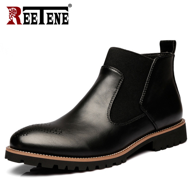 REETENE Fashion Ankle Boots Men Genuine Leather Men Winter Shoes Plush Oxfords Men Shoes Top Quality Cow Leather Men'S Boots