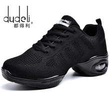 DUDELI 2018 New Soft Outsole Breath Dance Shoes Women Sports Feature Dance Sneakers Jazz Hip Hop Shoes Woman Dancing Shoes(China)