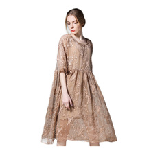 YZ  Large Size Womens Dress 2019 Summer New Two Piece Set Clothing Loose Embroidery Female Suit