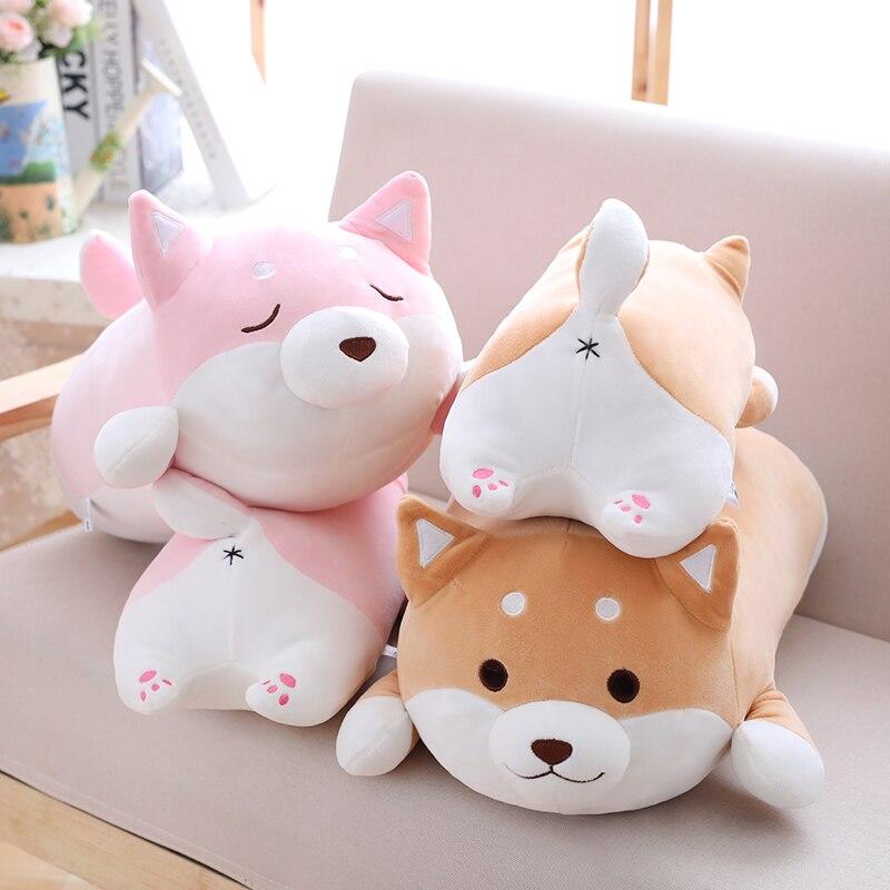 36/55 Cute Fat Shiba Inu perro de peluche de felpa suave Kawaii Animal de dibujos animados almohada encantador regalo para niños bebés niños de buena calidad