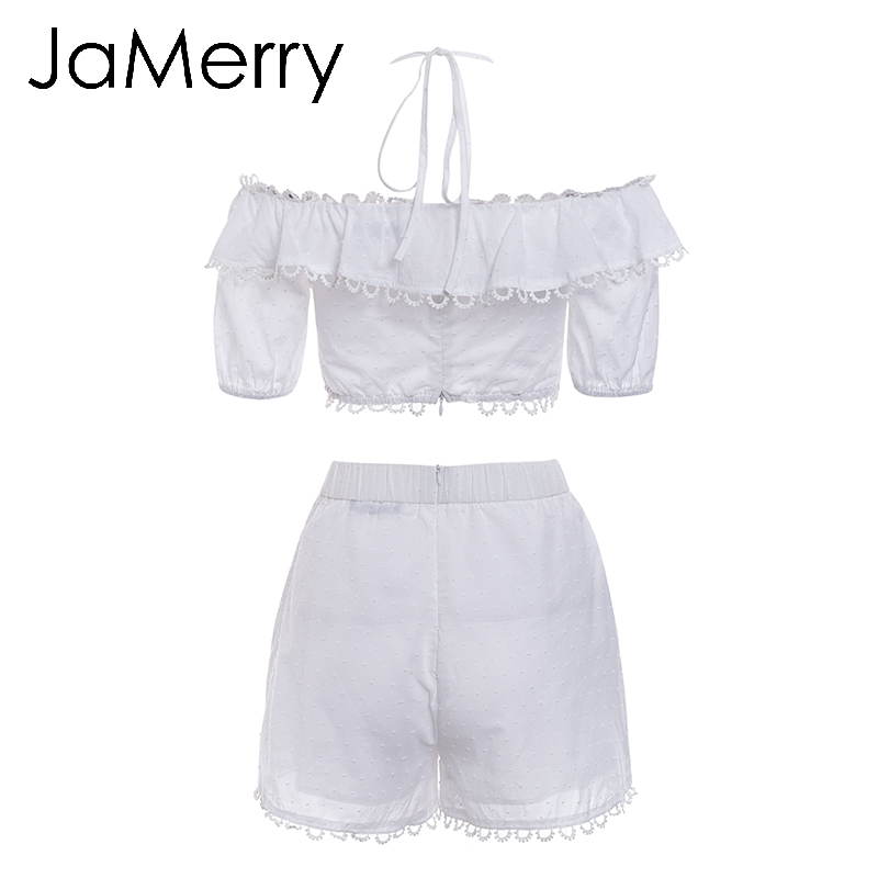 03350e4363a JaMerry Vintage off shoulder white embroidery two piece set romper ...