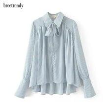 125ee6252ac Модная женская светло-синяя полосатая печать бант лента деко рубашка с  длинным рукавом Женская отложной воротник блузка blusas т.