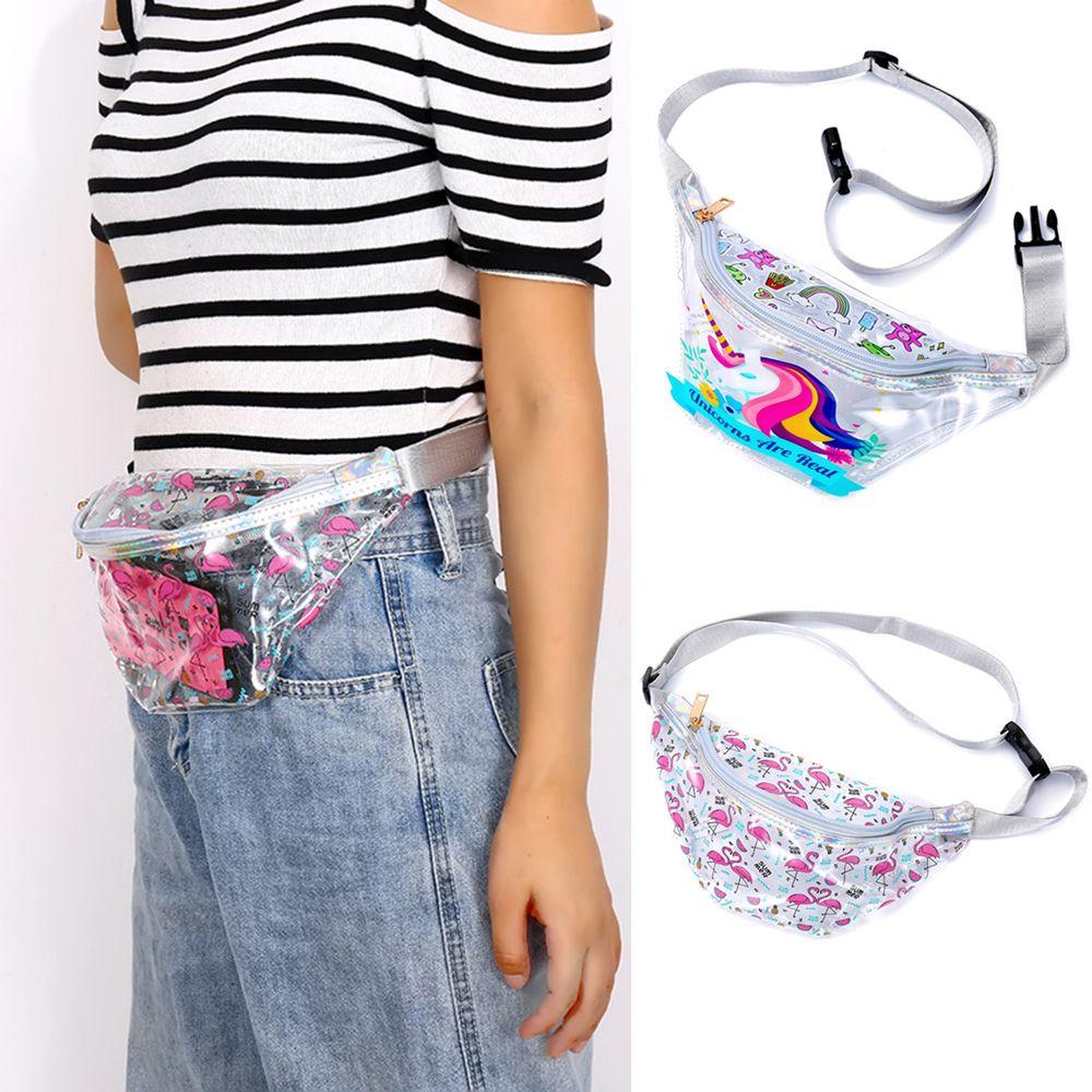 a7150d4c5e1e US $4.58 5% OFF|Fashion Women Unicorn Flamingo Printed Waist Pack  Transparent PVC Waterproof Belt Bag Waist Bag Ladies Chest Travel Zipper  Pouch-in ...