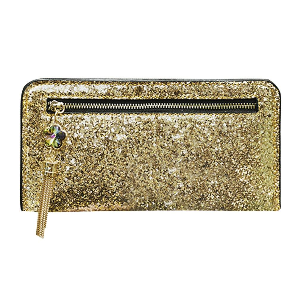 PU Leather Bling Sequins Long Wallet Zipper Card Holder Clutch Purse Portfolio Women Wallet Women Luxury Brand Clutch Purse Hot