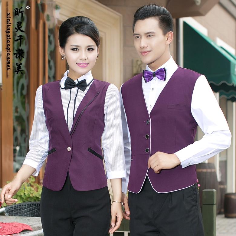 Hotel Uniform Autumn Winter Ktv Restaurant Cafe Waiter Long Sleeved Vest shirt Cashier Uniforms waitress overall shirt J032