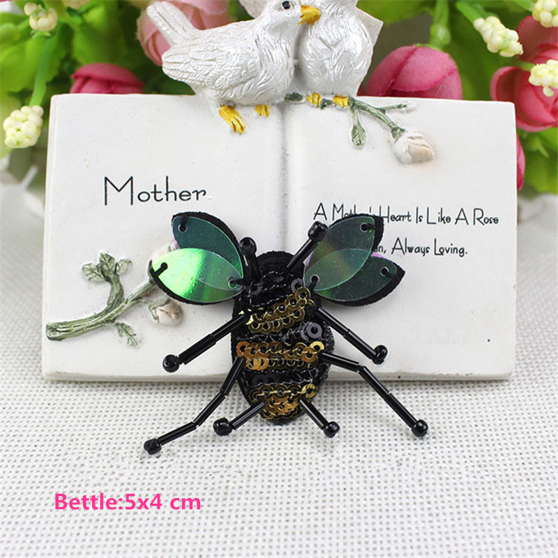 10pcs Sequin Beaded Bee Patch Collor Applique Iron on Patches for - ხელოვნება, რეწვა და კერვა - ფოტო 4