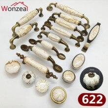 Одна кнопка/отверстие CC 76 мм/96 мм/128 мм ручка для мебели декоративные керамические ручки ручка ящика античная латунь тянет