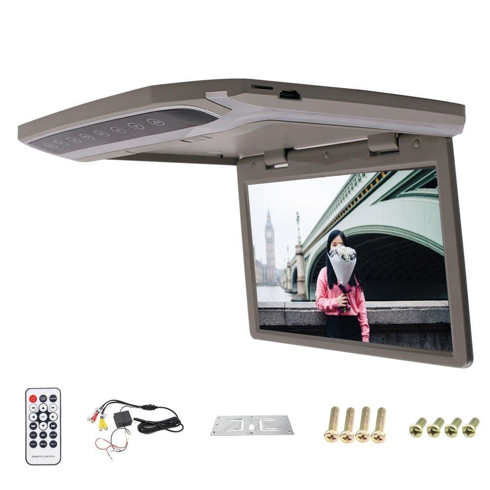 Car Roof-mount Monitor 10.2-inch LCD-TFT Overhead Automotive High Resolution Built-in Dome Lights 2 Way Video Input Built-in FM