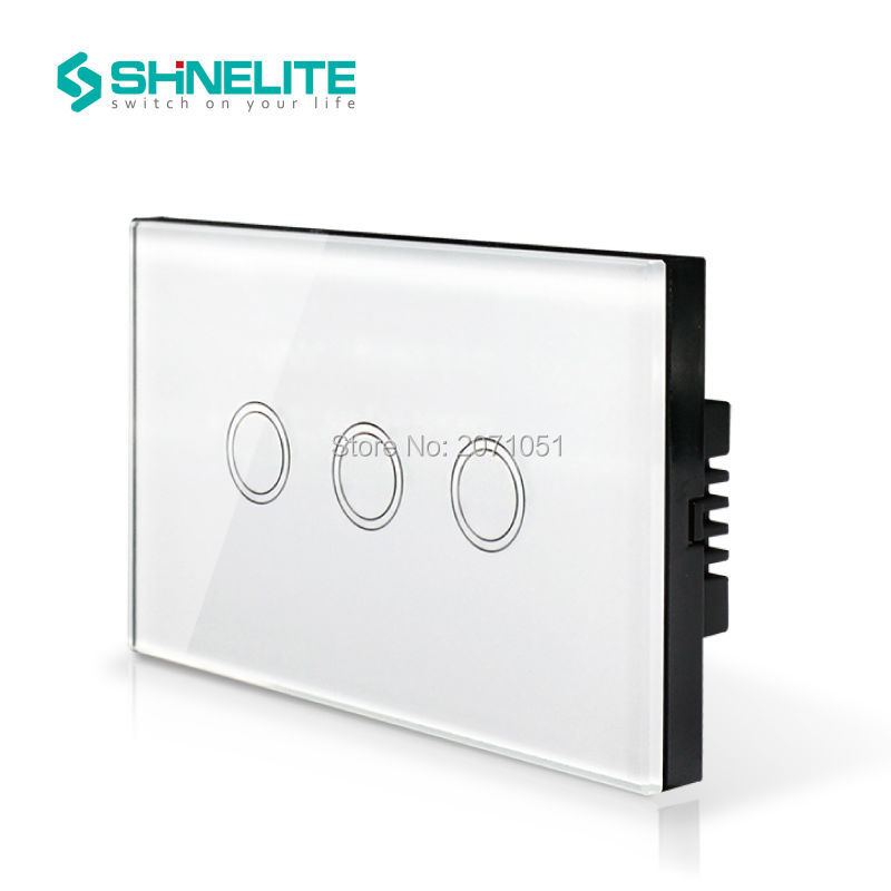 Manufacturer, SHINELITE Wall Switch ,3-gang 110~250V Smart home, Crystal Glass Panel,US AU Touch Screen Control Wall Light 2016 hot sale touch switch crystal glass panel us au light switch 2 gang 1 way wall switch smart home touch switch