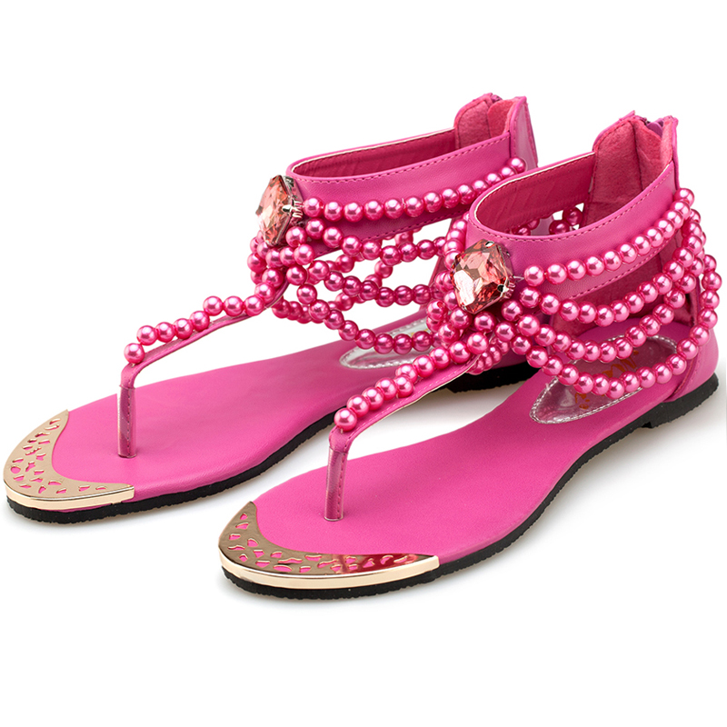 Summer Flat Sandals Lady Pearl Beading Bohemia Beach Flip Flops Flats Women Shoes Sandles Zapatos Mujer Sandalias Shoes Woman