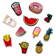 1 PCS ice cream parches Embroidered Iron on Patches for Clothing DIY Stripes Clothes Food Fruit Stickers Custom Hamburgers @J(China)