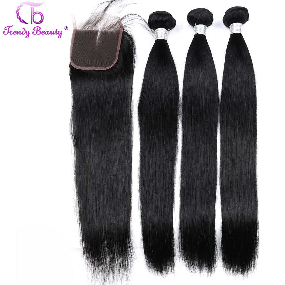 Trendy Beauty Brazilian Straight Hair 3 Bundles With 1 pcs Lace Closure Color 1B Non-Remy Human Hair Bundles With Closure 8-28