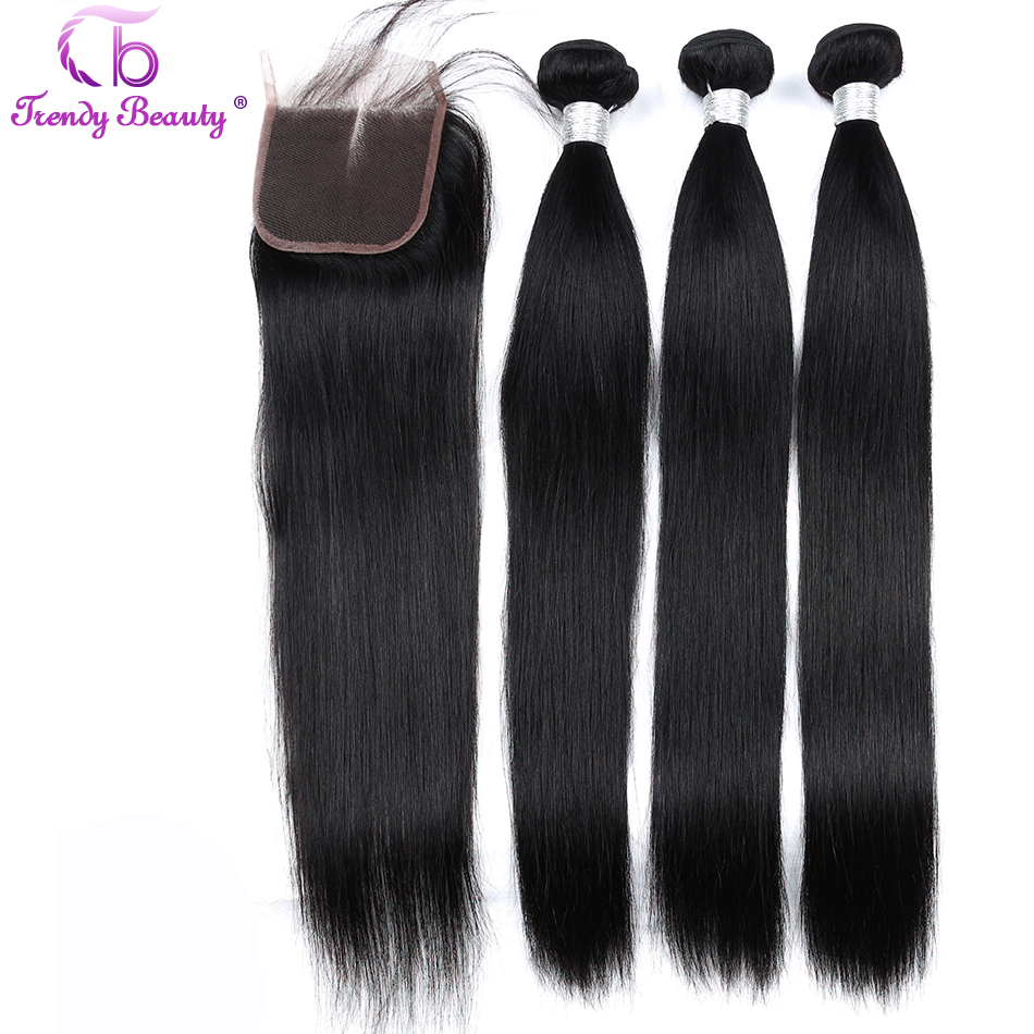 Trendy Beauty Brazilian Straight Hair 3 Bundles With 1 pcs Lace Closure Color 1B Non Remy Human Hair Bundles With Closure 8 28-in 3/4 Bundles with Closure from Hair Extensions & Wigs    1