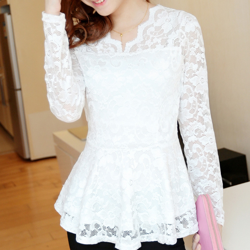 d75c48e9475c3 spring plus size lace shirt medium-long white blouses femininas camisas  blusa renda women tops roupas
