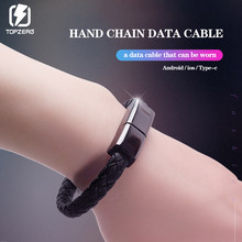 New Mini Micro USB Bracelet Charger Data For iPhone6 6s Android Type-C Phone Cable Portable Leather sync Cord Charging Cable(China)