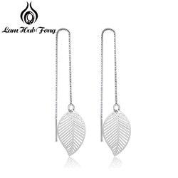 Elegant Leaf Earrings for Women Girls Long Chain Tassel Drop Earrings Brand Wedding Party Jewelry Gift for Her (Lam Hub Fong)