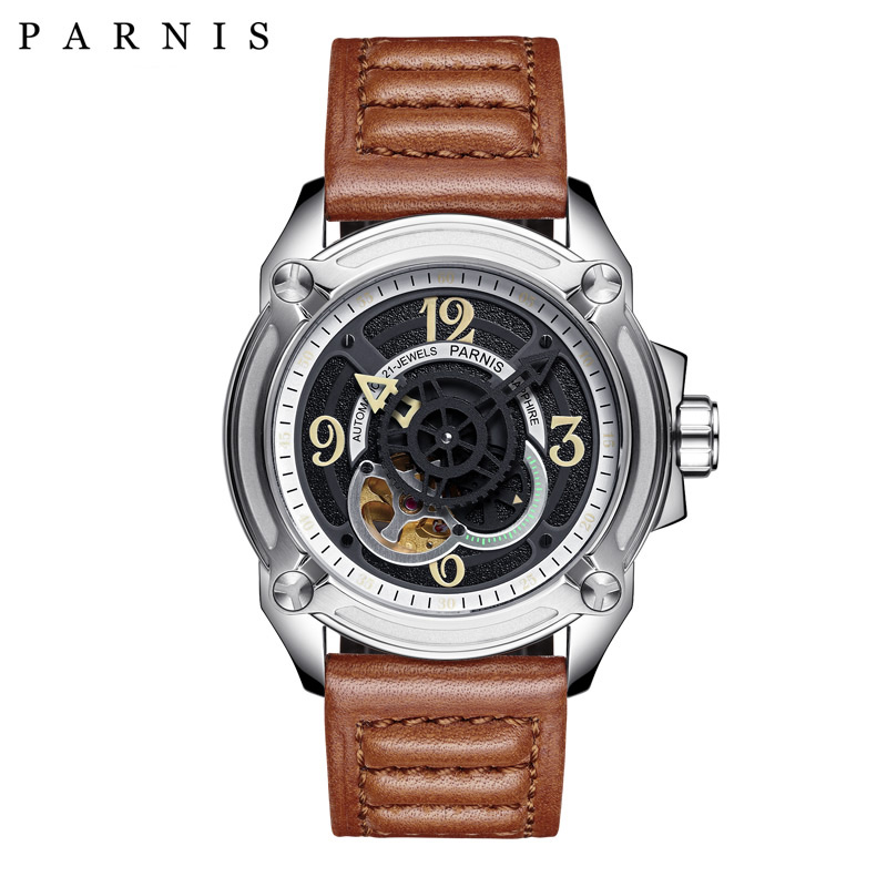 цены  44mm Parnis Mechanical Watches Luminous Skeleton Watch Men Top Luxury Brand Sapphire Leather Watch Men relogios masculino
