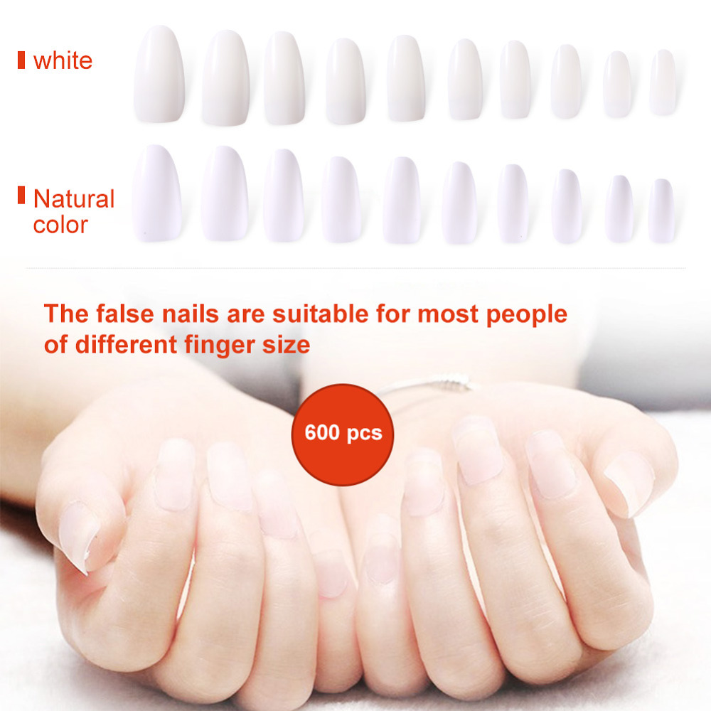 2 Types 600pcs False Fake Nails Oval Round Clear Half Cover White ...