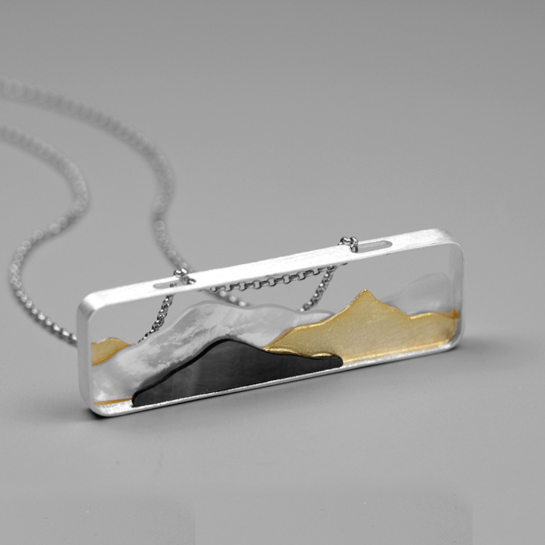 INATURE 925 Sterling Silver 3D Mountain Shell Pendant Necklace For Women Fashion Jewelry