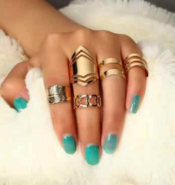 5pcs/set Trendy Bague Punk Joint Circle Mid-Finger Rings Set for Women Adjustable Gold Hollow Party Ring