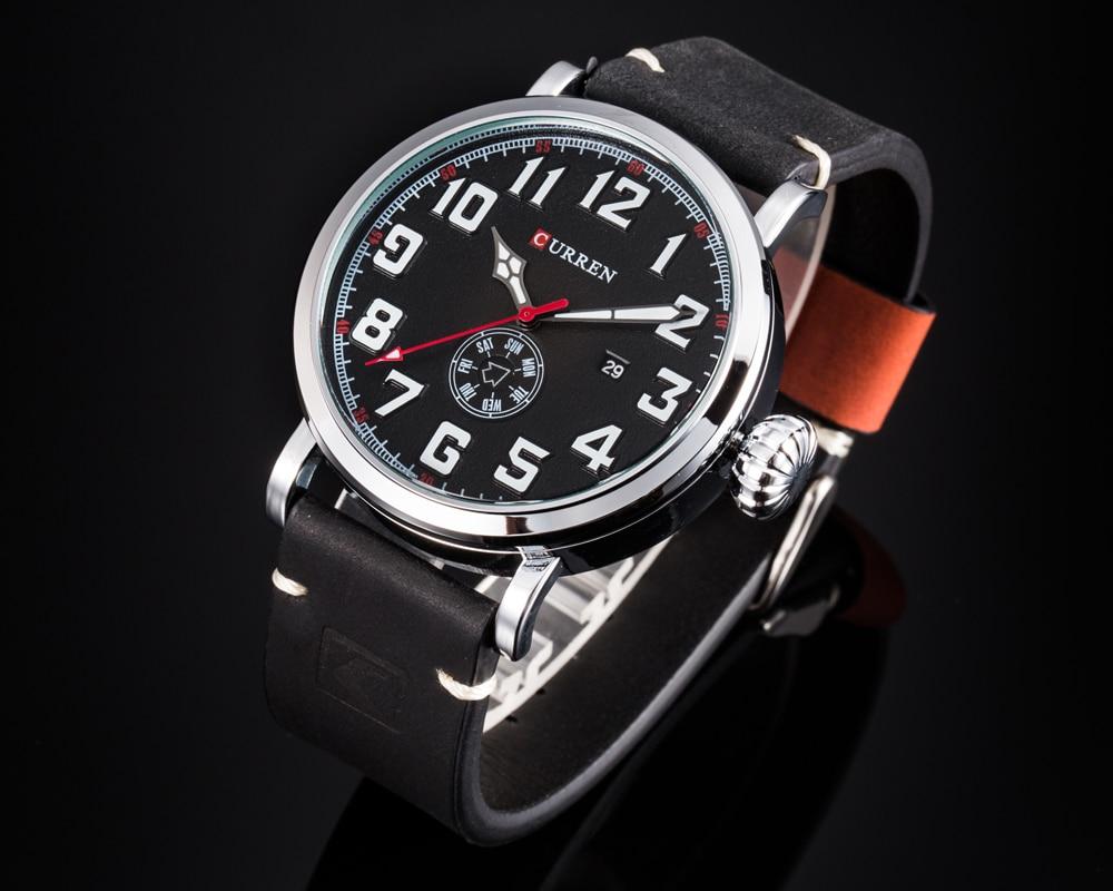 HTB1dPpcf25TBuNjSspcq6znGFXau Men Watch Brand CURREN Fashion Big Digital Dial Male Wristwatch Casual Calendar Quartz Leather Clock Montre Homme Reloj Hombre
