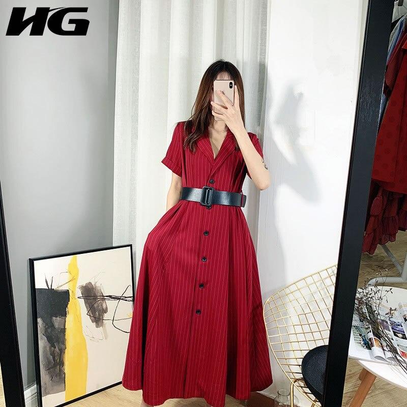 HG rétro rayé français Maxi robe formelle robe femmes élégant Slim Fit ceintures Turn Down col 2019 décontracté lâche XJ1739