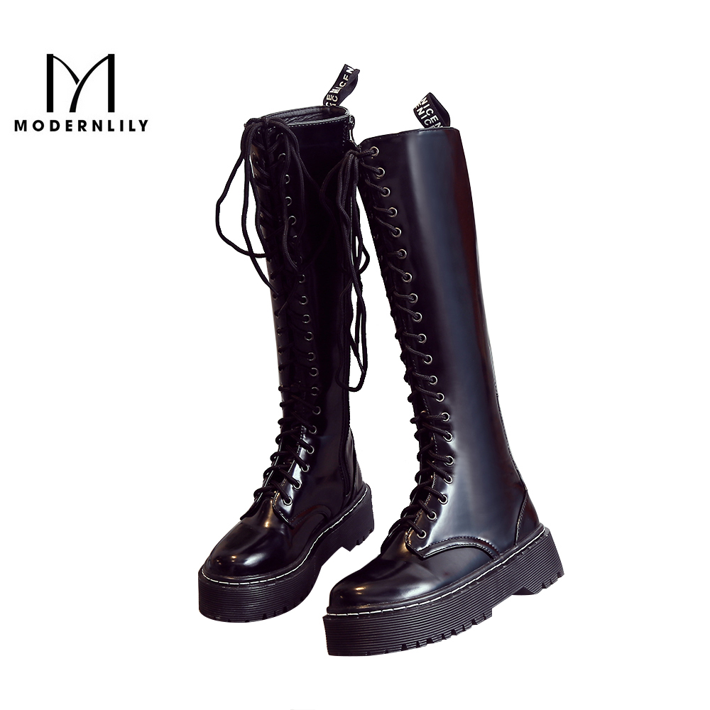 MODERNLILY Knee High Boots Women Black Patent Leather Zipper Winter Brand Flat Platform Women 's Shoes Snow Boots Botas Mujer