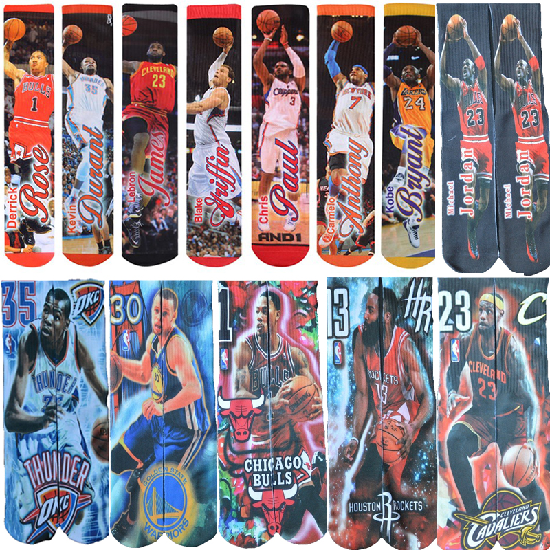 3D printed   socks   Michael JD/LB James//GREFFIN/Curry/KB Bryant/Kevin Durant/Anthony/Paul USA brand odd   socks   Men   Socks