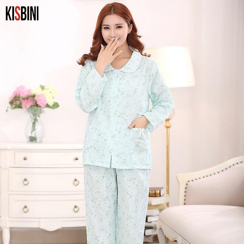 KISBINI Women Cotton Sleepwear Homewear Autumn Sleepwear Breathable Casual Women   Pajamas     Sets