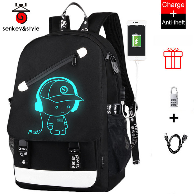 d6f4e69beb Luminous USB Charge School Bags Waterproof Large Anti-theft Backpack  Teenagers High School Backpack Student Casual Travel Bag