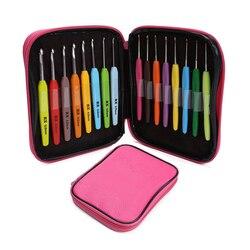 16 pçs multi cor crochê gancho fio alu tricô agulhas conjunto kit com caixa ferramentas de costura mão